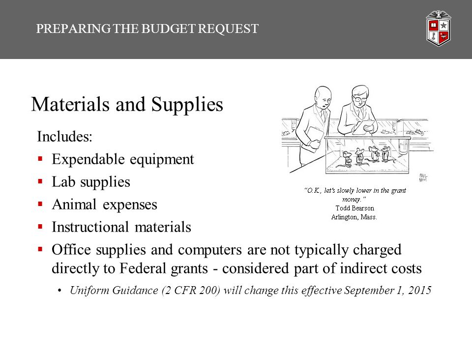 Materials and Supplies Includes:  Expendable equipment  Lab supplies  Animal expenses  Instructional materials  Office supplies and computers are