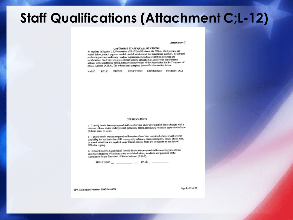 Staff Qualifications (Attachment C;L-12)