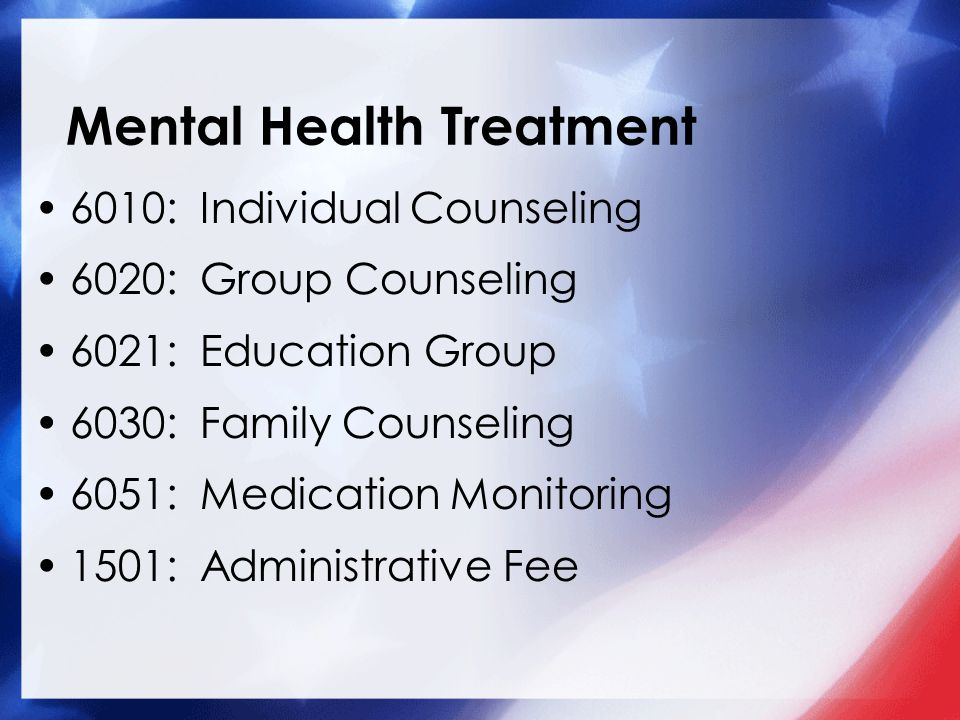 6010: Individual Counseling 6020: Group Counseling 6021: Education Group 6030: Family Counseling 6051: Medication Monitoring 1501: Administrative Fee Mental Health Treatment