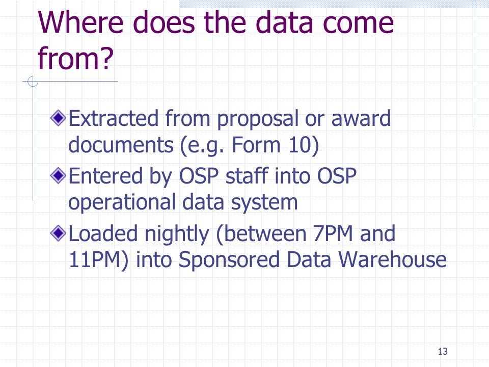 13 Where does the data come from? Extracted from proposal or award documents (e.g. Form 10) Entered by OSP staff into OSP operational data system Load
