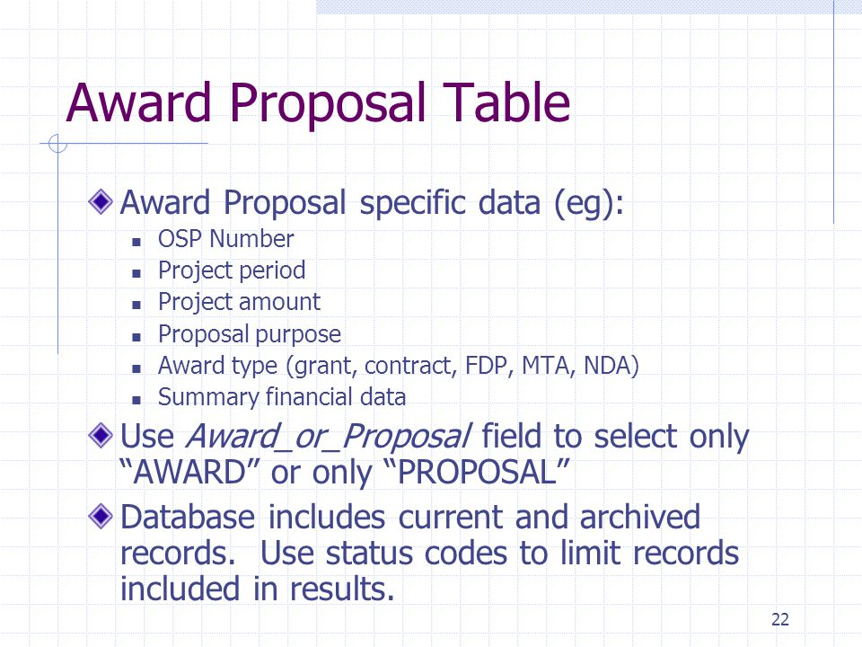 22 Award Proposal Table Award Proposal specific data (eg): OSP Number Project period Project amount Proposal purpose Award type (grant, contract, FDP, MTA, NDA) Summary financial data Use Award_or_Proposal field to select only AWARD or only PROPOSAL Database includes current and archived records.