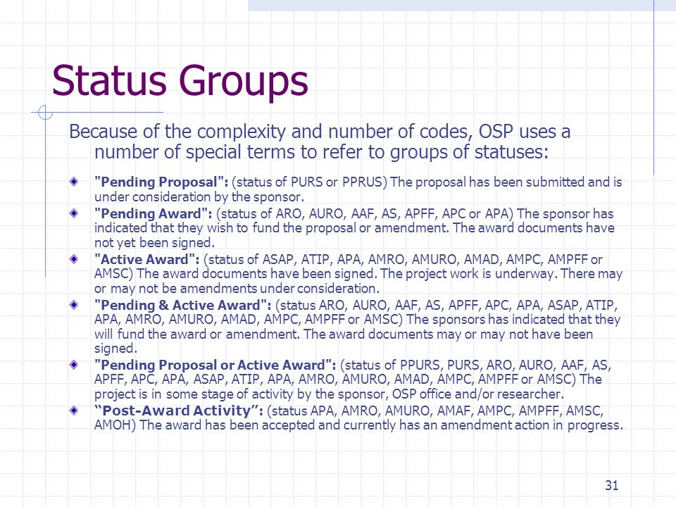 31 Status Groups Because of the complexity and number of codes, OSP uses a number of special terms to refer to groups of statuses: