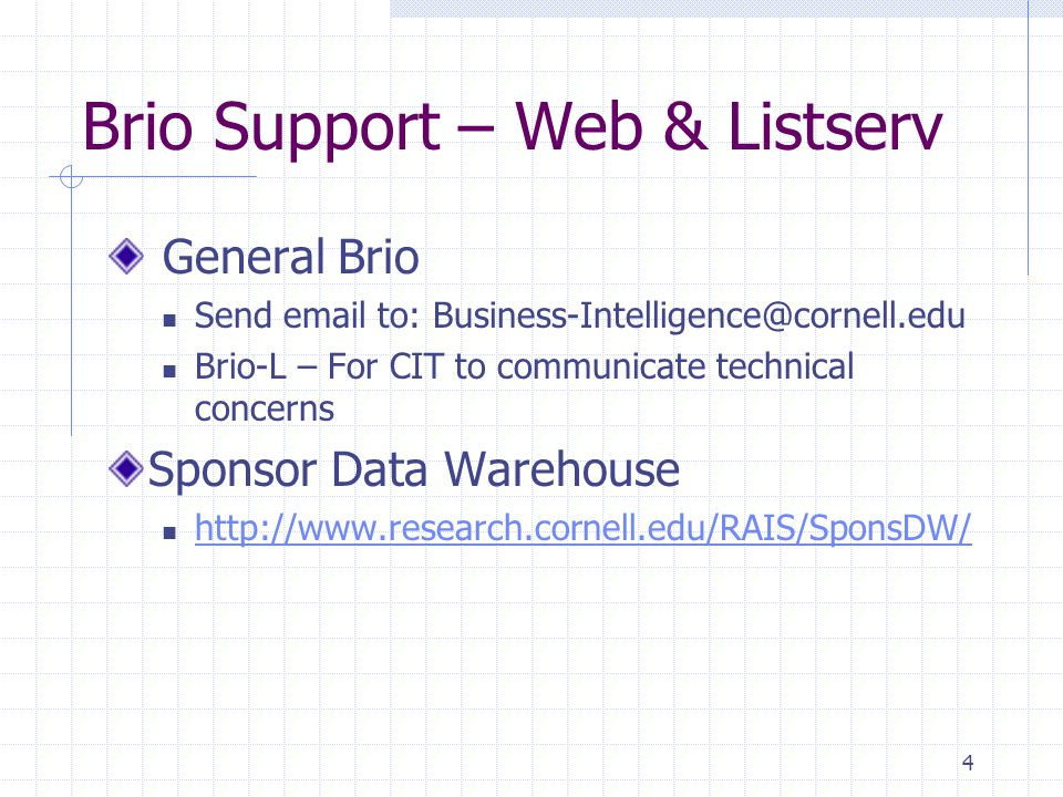 4 Brio Support – Web & Listserv General Brio Send email to: Business-Intelligence@cornell.edu Brio-L – For CIT to communicate technical concerns Sponsor Data Warehouse http://www.research.cornell.edu/RAIS/SponsDW/