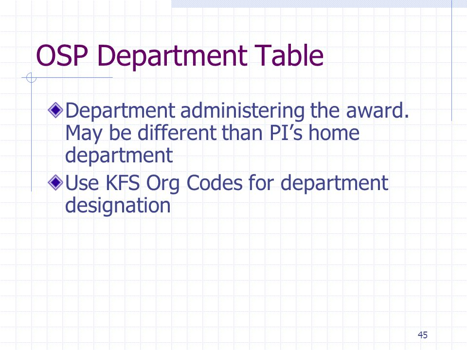 45 OSP Department Table Department administering the award. May be different than PI's home department Use KFS Org Codes for department designation