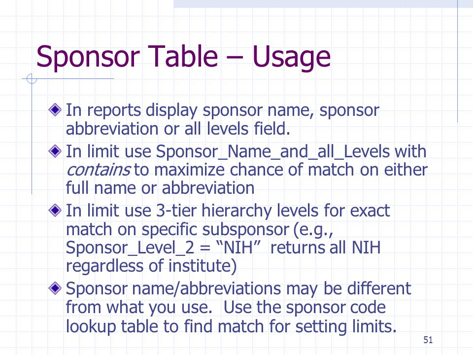 51 Sponsor Table – Usage In reports display sponsor name, sponsor abbreviation or all levels field. In limit use Sponsor_Name_and_all_Levels with cont