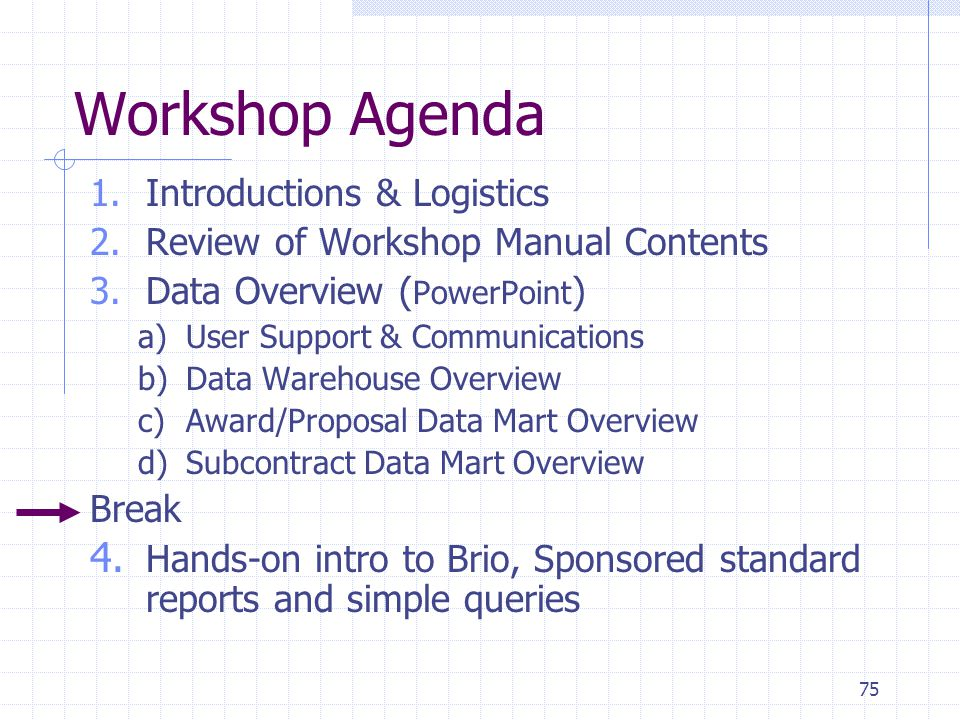 75 Workshop Agenda 1.Introductions & Logistics 2.Review of Workshop Manual Contents 3.Data Overview ( PowerPoint ) a)User Support & Communications b)Data Warehouse Overview c)Award/Proposal Data Mart Overview d)Subcontract Data Mart Overview Break 4.