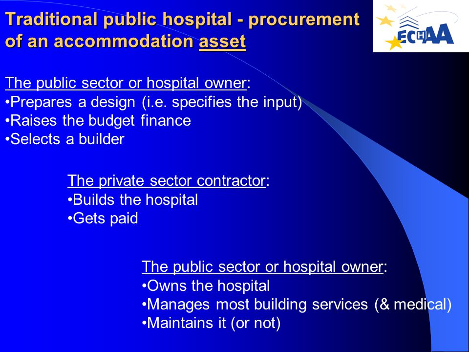 Traditional public hospital - procurement of an accommodation asset The public sector or hospital owner: Prepares a design (i.e.