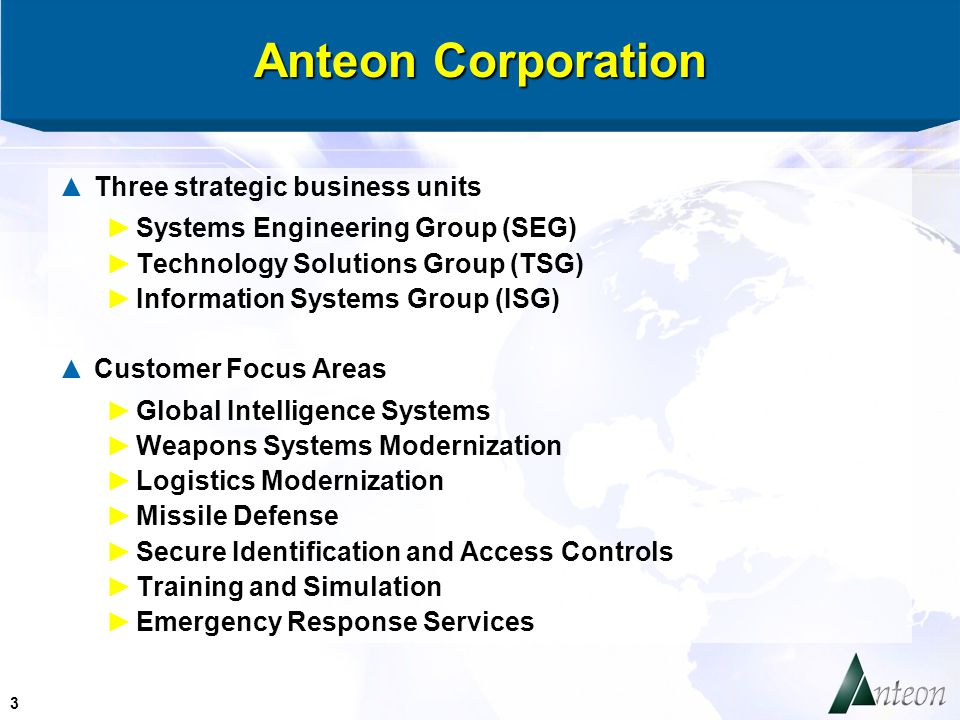 3 Anteon Corporation ▲Three strategic business units ►Systems Engineering Group (SEG) ►Technology Solutions Group (TSG) ►Information Systems Group (ISG) ▲Customer Focus Areas ►Global Intelligence Systems ►Weapons Systems Modernization ►Logistics Modernization ►Missile Defense ►Secure Identification and Access Controls ►Training and Simulation ►Emergency Response Services