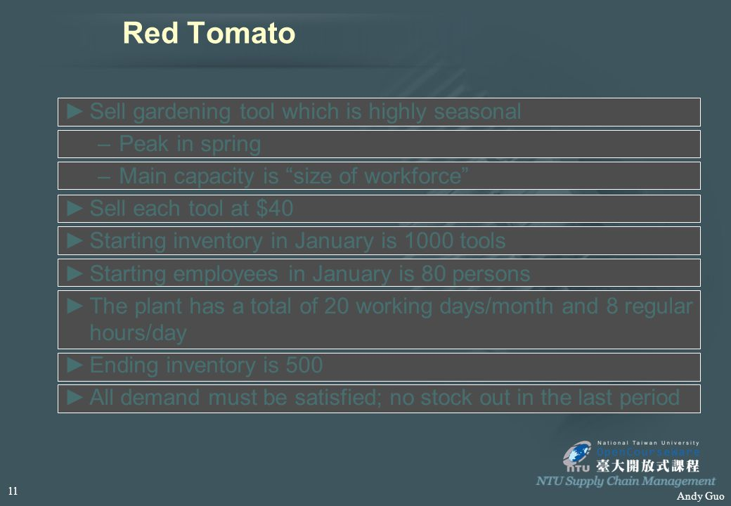 "Andy Guo Red Tomato ►S►Sell gardening tool which is highly seasonal –P–Peak in spring –M–Main capacity is ""size of workforce"" ►S►Sell each tool at $40"