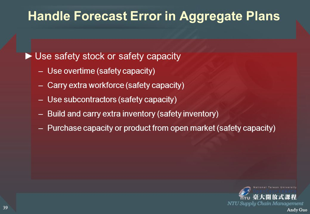 Andy Guo Handle Forecast Error in Aggregate Plans ►Use safety stock or safety capacity –Use overtime (safety capacity) –Carry extra workforce (safety