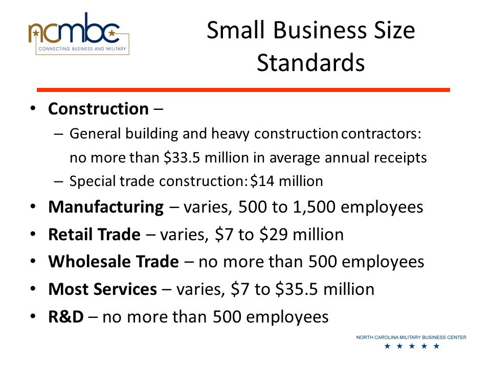 Small Business Size Standards Construction – – General building and heavy construction contractors: no more than $33.5 million in average annual receipts – Special trade construction: $14 million Manufacturing – varies, 500 to 1,500 employees Retail Trade – varies, $7 to $29 million Wholesale Trade – no more than 500 employees Most Services – varies, $7 to $35.5 million R&D – no more than 500 employees