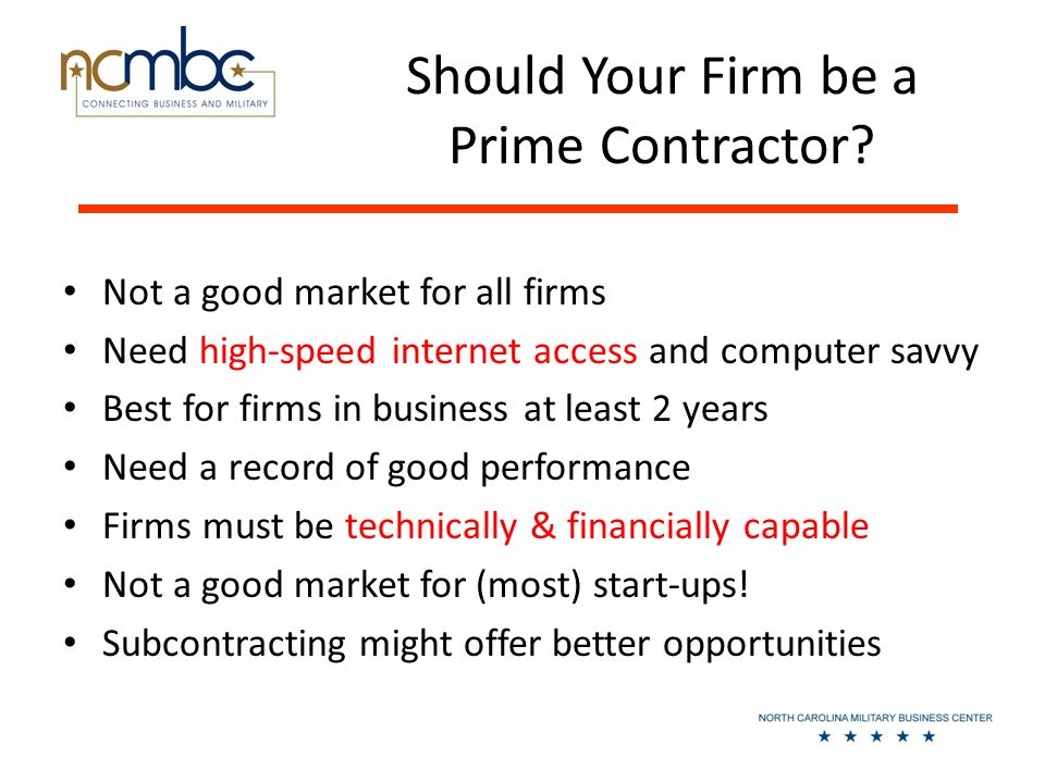 Should Your Firm be a Prime Contractor.