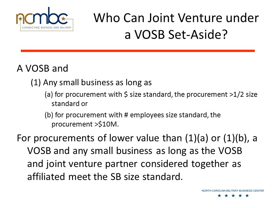 Who Can Joint Venture under a VOSB Set-Aside.