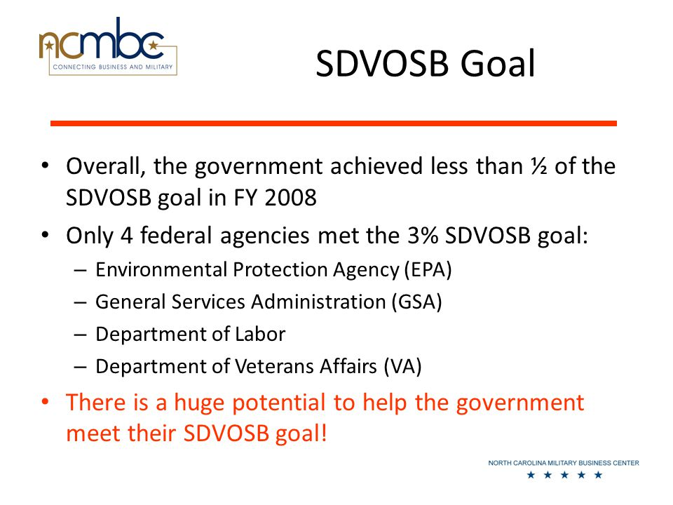 SDVOSB Goal Overall, the government achieved less than ½ of the SDVOSB goal in FY 2008 Only 4 federal agencies met the 3% SDVOSB goal: – Environmental Protection Agency (EPA) – General Services Administration (GSA) – Department of Labor – Department of Veterans Affairs (VA) There is a huge potential to help the government meet their SDVOSB goal!