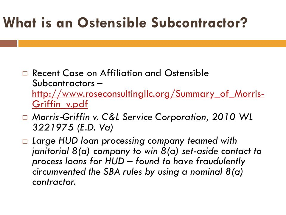 What is an Ostensible Subcontractor.