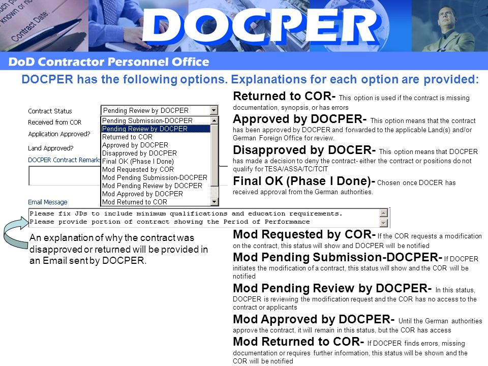 An explanation of why the contract was disapproved or returned will be provided in an Email sent by DOCPER.