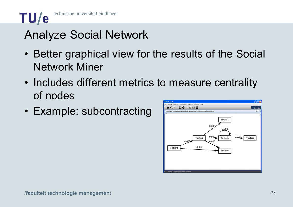 /faculteit technologie management 23 Analyze Social Network Better graphical view for the results of the Social Network Miner Includes different metrics to measure centrality of nodes Example: subcontracting