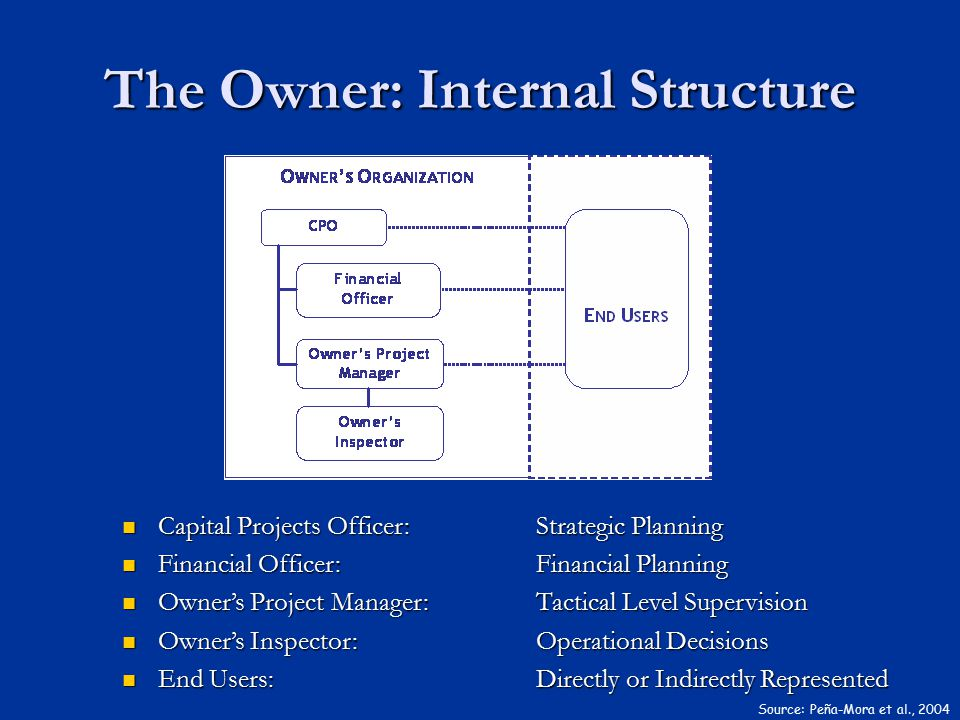 The Owner: Internal Structure Capital Projects Officer: Strategic Planning Capital Projects Officer: Strategic Planning Financial Officer: Financial P