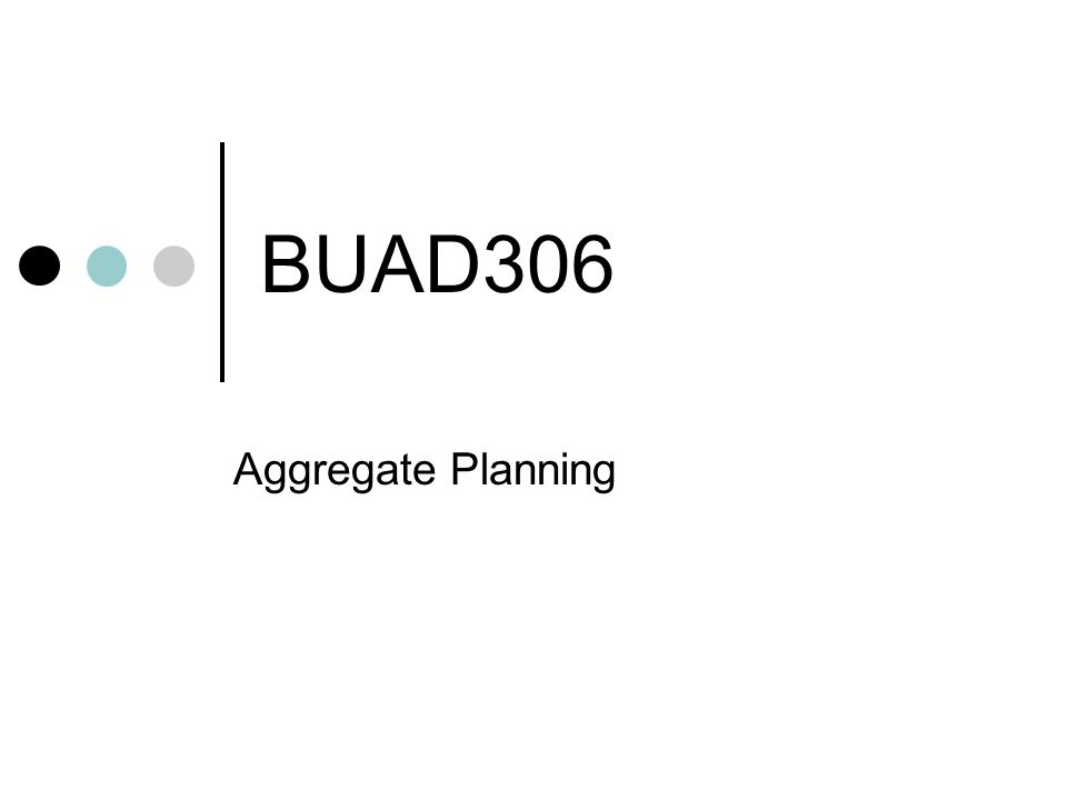 BUAD306 Aggregate Planning