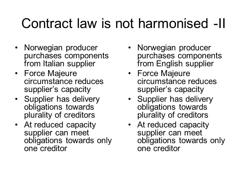 Contract law is not harmonised -II Norwegian producer purchases components from Italian supplier Force Majeure circumstance reduces supplier's capacit