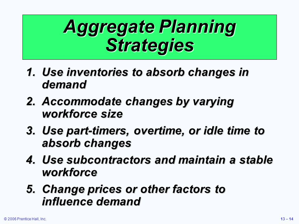 © 2006 Prentice Hall, Inc.13 – 14 Aggregate Planning Strategies 1.Use inventories to absorb changes in demand 2.Accommodate changes by varying workfor