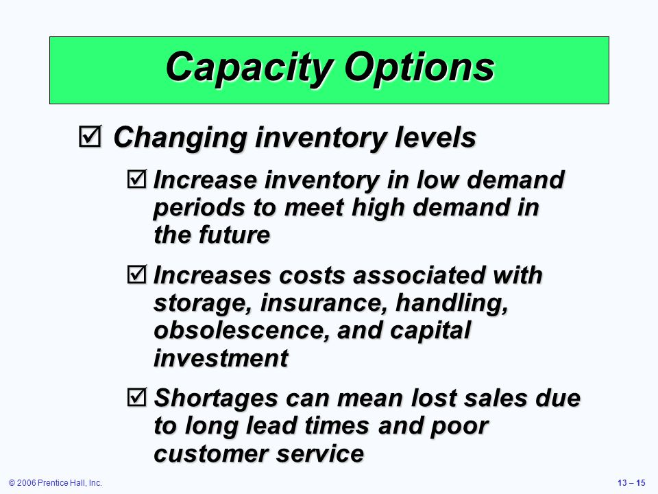 © 2006 Prentice Hall, Inc.13 – 15 Capacity Options  Changing inventory levels  Increase inventory in low demand periods to meet high demand in the f