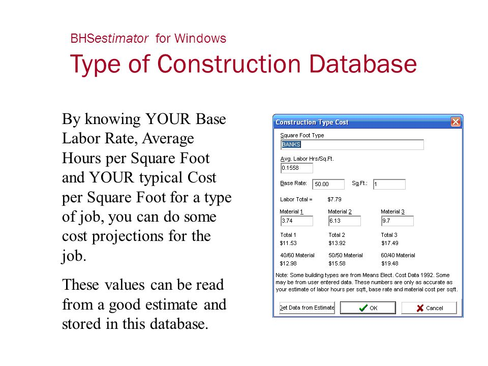 BHSestimator for Windows Type of Construction Database By knowing YOUR Base Labor Rate, Average Hours per Square Foot and YOUR typical Cost per Square
