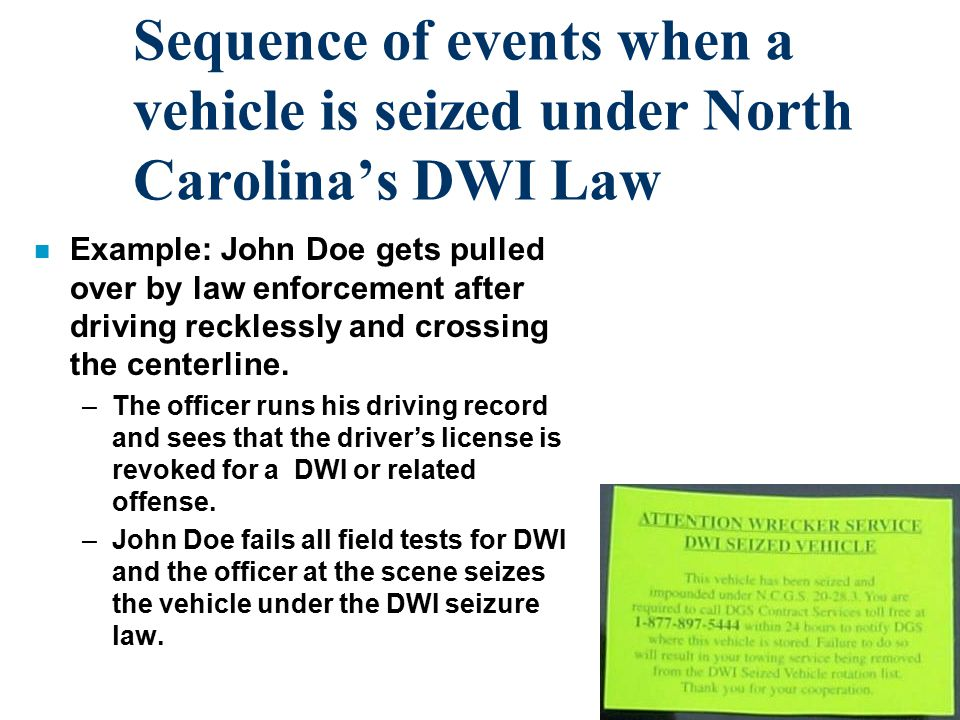 Sequence of events when a vehicle is seized under North Carolina's DWI Law n Example: John Doe gets pulled over by law enforcement after driving recklessly and crossing the centerline.