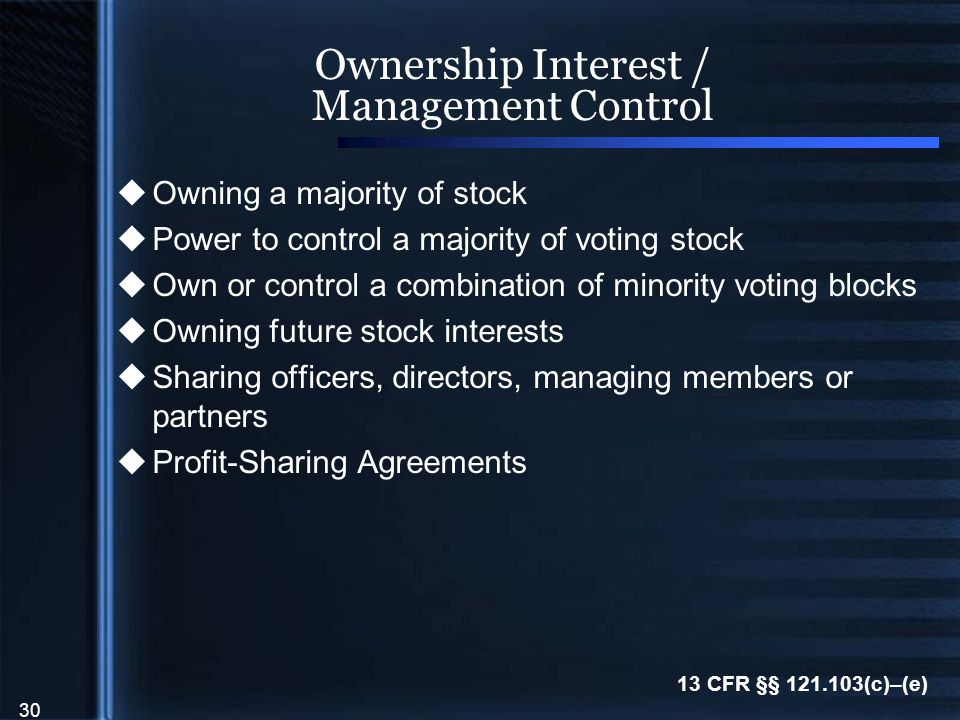30 Ownership Interest / Management Control  Owning a majority of stock  Power to control a majority of voting stock  Own or control a combination of minority voting blocks  Owning future stock interests  Sharing officers, directors, managing members or partners  Profit-Sharing Agreements 13 CFR §§ 121.103(c)–(e)