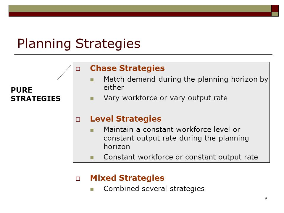 9 Planning Strategies  Chase Strategies Match demand during the planning horizon by either Vary workforce or vary output rate  Level Strategies Main