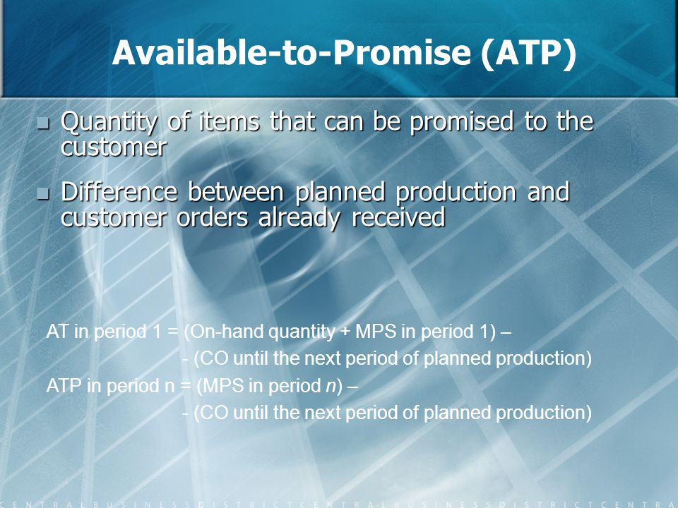 Available-to-Promise (ATP) Quantity of items that can be promised to the customer Quantity of items that can be promised to the customer Difference be