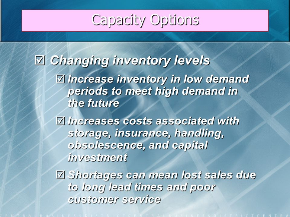 Capacity Options  Varying workforce size by hiring or layoffs  Match production rate to demand  Training and separation costs for hiring and laying off workers  New workers may have lower productivity  Laying off workers may lower morale and productivity