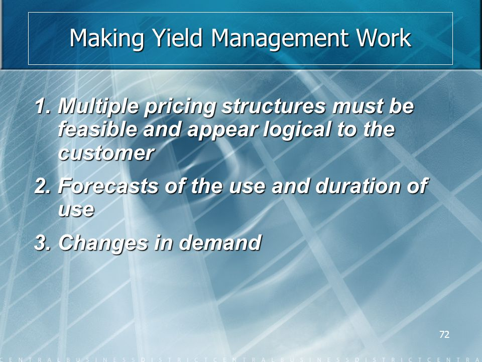 72 Making Yield Management Work 1.Multiple pricing structures must be feasible and appear logical to the customer 2.Forecasts of the use and duration