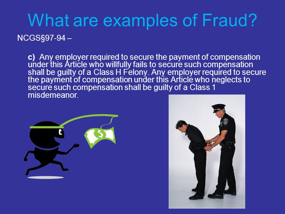 What are examples of Fraud.