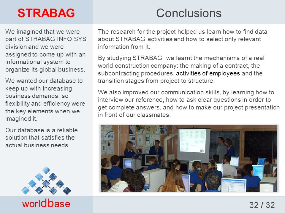 STRABAG worl db ase Conclusions The research for the project helped us learn how to find data about STRABAG activities and how to select only relevant information from it.