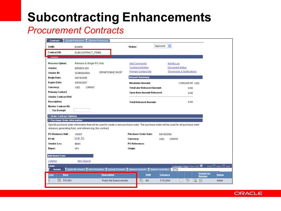 Subcontracting Enhancements Procurement Contracts