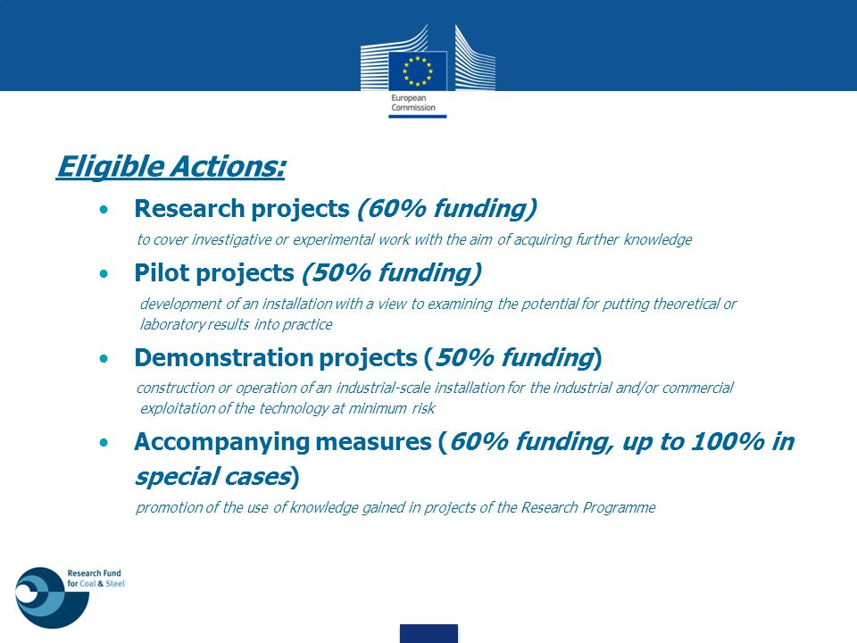 Eligible Actions: Research projects (60% funding) to cover investigative or experimental work with the aim of acquiring further knowledge Pilot projec