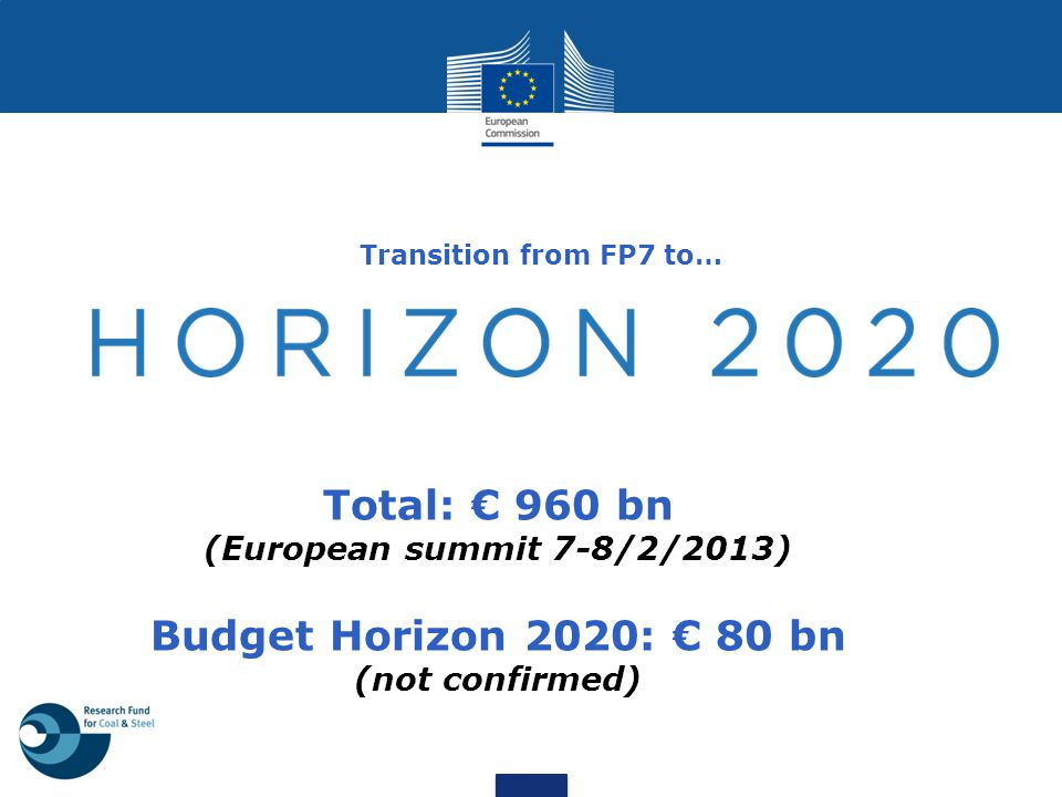 Transition from FP7 to… Total: € 960 bn (European summit 7-8/2/2013) Budget Horizon 2020: € 80 bn (not confirmed)