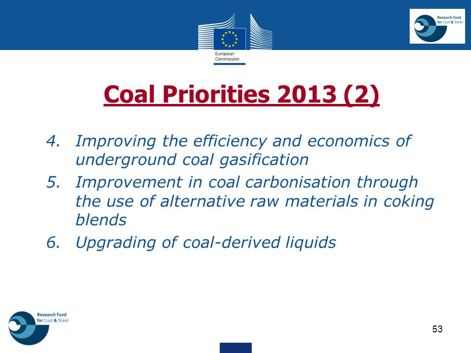 Coal Priorities 2013 (2) 4. Improving the efficiency and economics of underground coal gasification 5.Improvement in coal carbonisation through the us