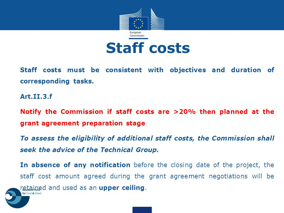 Staff costs Staff costs must be consistent with objectives and duration of corresponding tasks. Art.II.3.f Notify the Commission if staff costs are >2