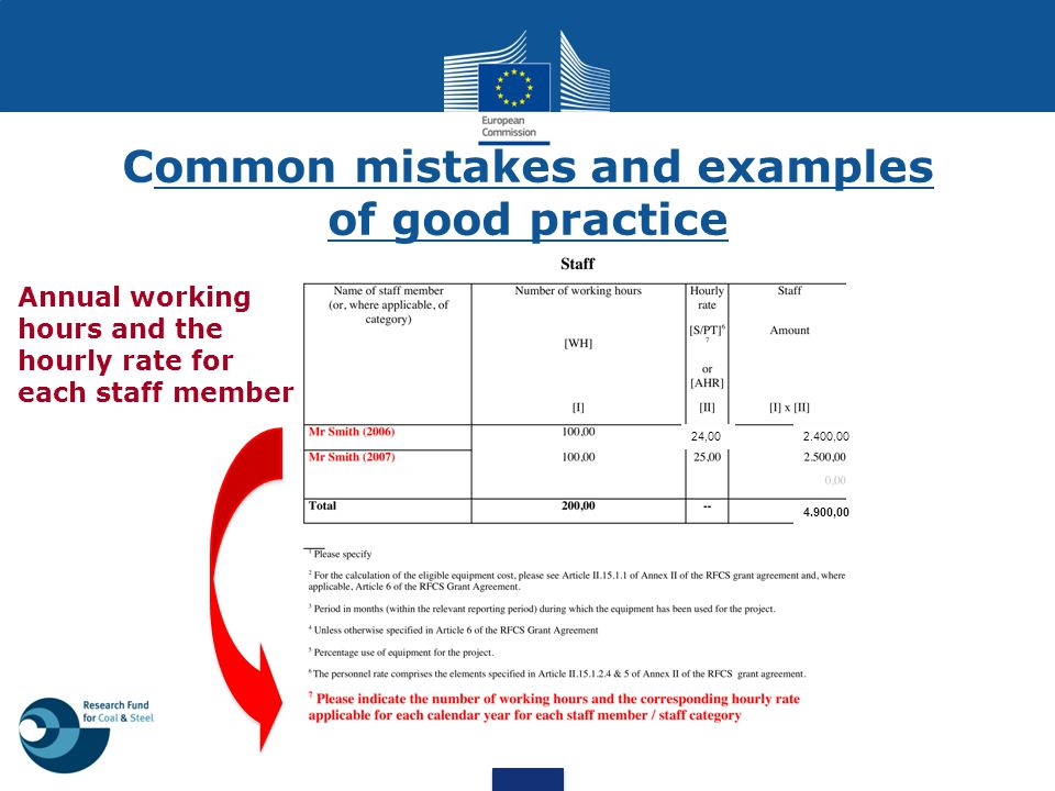 Common mistakes and examples of good practice Annual working hours and the hourly rate for each staff member 2.400,0024,00 4.900,00