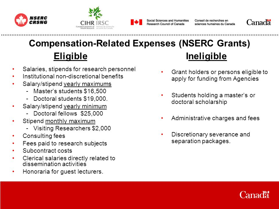 Compensation-Related Expenses (NSERC Grants) Salaries, stipends for research personnel Institutional non-discretional benefits Salary/stipend yearly maximums - Master's students $16,500 - Doctoral students $19,000.