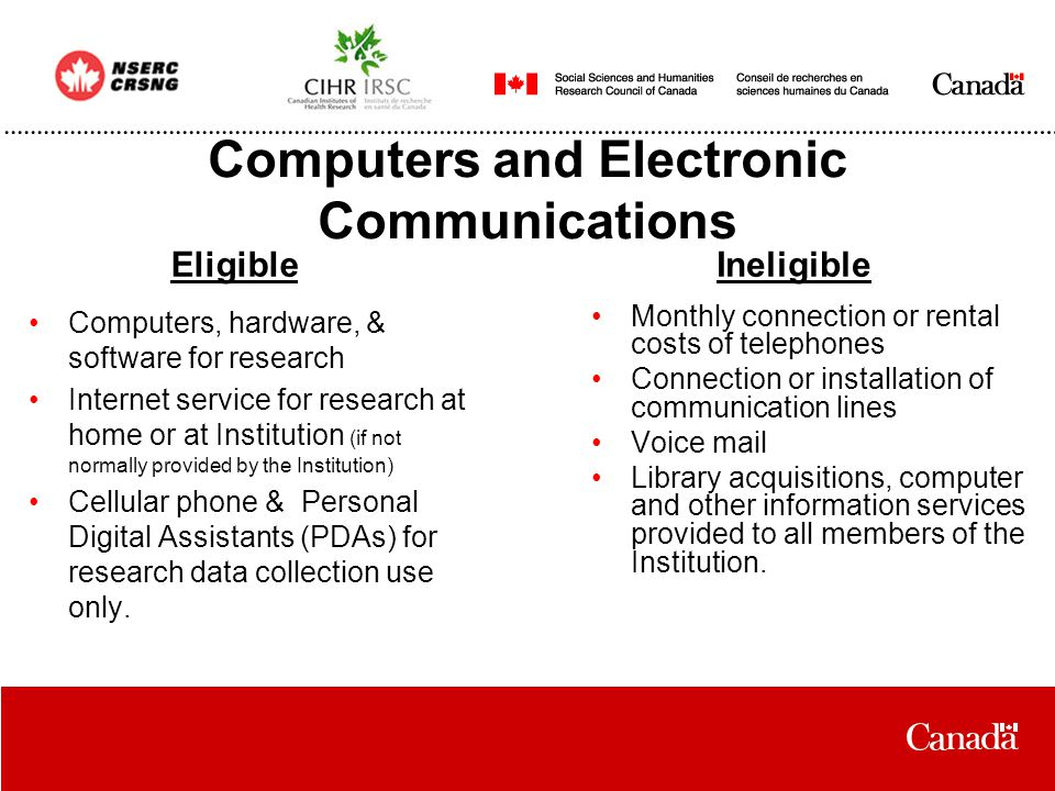 Computers and Electronic Communications Computers, hardware, & software for research Internet service for research at home or at Institution (if not normally provided by the Institution) Cellular phone & Personal Digital Assistants (PDAs) for research data collection use only.