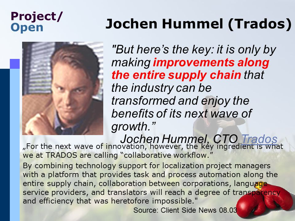 "Project/ Open Jochen Hummel (Trados) ""For the next wave of innovation, however, the key ingredient is what we at TRADOS are calling ""collaborative wor"