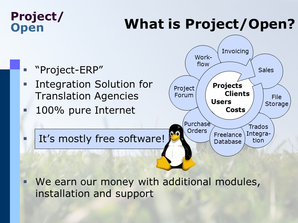"Project/ Open What is Project/Open?  ""Project-ERP""  Integration Solution for Translation Agencies  100% pure Internet  It's mostly free software!"
