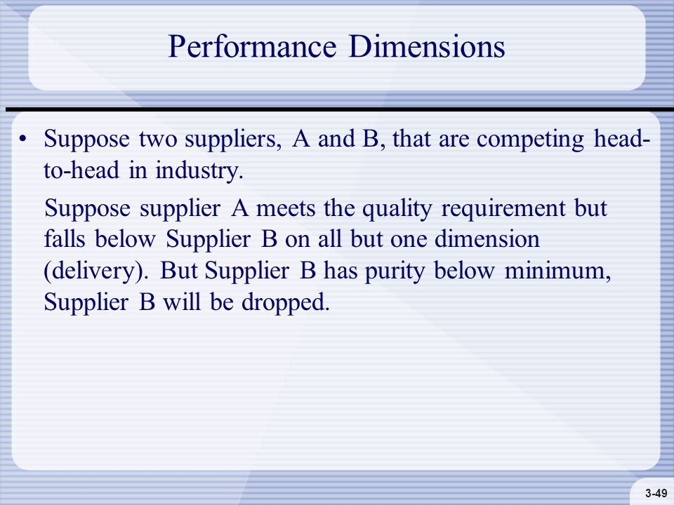 3-49 Performance Dimensions Suppose two suppliers, A and B, that are competing head- to-head in industry.