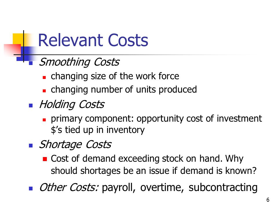 27 Cost Evaluation for Constant Work Force Plan Assume that the work force at end of Dec was 40 Cost to hire 6 workers: 6*800 = $4800 Inventory Cost: accumulate ending inventory: (126+98+0+...+687) = 2093.