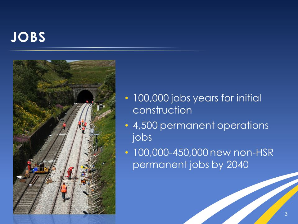 JOBS 3 100,000 jobs years for initial construction 4,500 permanent operations jobs 100,000-450,000 new non-HSR permanent jobs by 2040