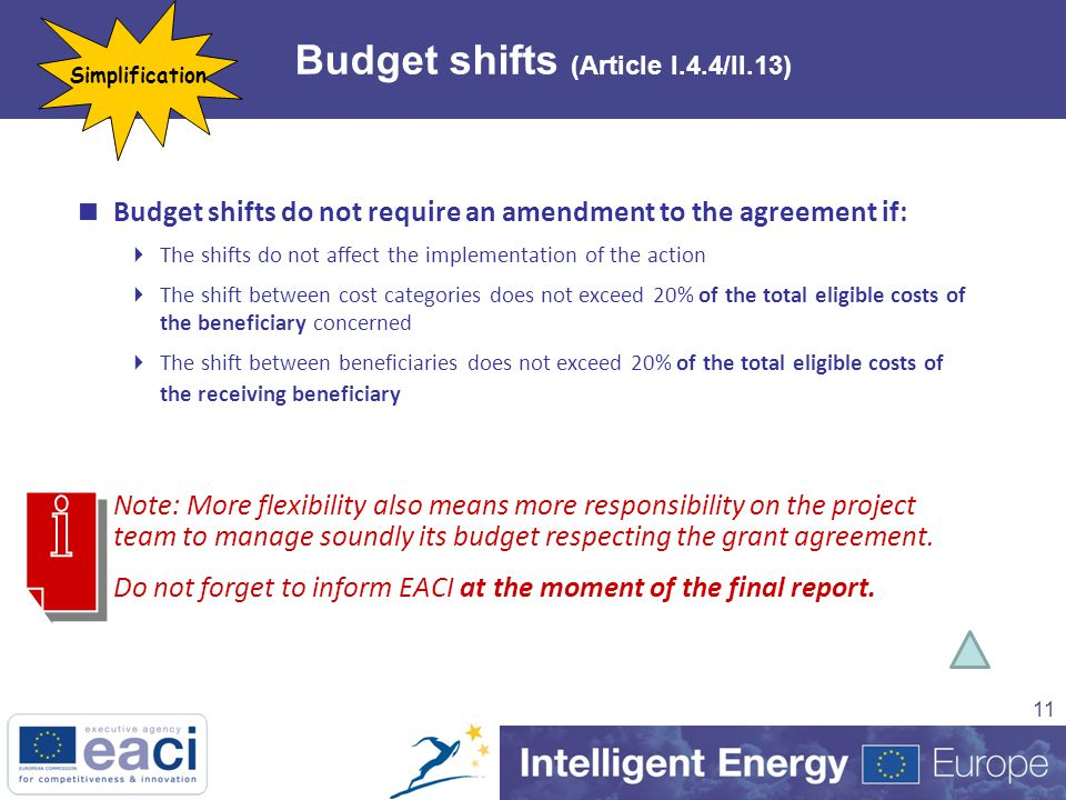 11 Budget shifts (Article I.4.4/II.13)  Budget shifts do not require an amendment to the agreement if:  The shifts do not affect the implementation of the action  The shift between cost categories does not exceed 20% of the total eligible costs of the beneficiary concerned  The shift between beneficiaries does not exceed 20% of the total eligible costs of the receiving beneficiary  Note: More flexibility also means more responsibility on the project team to manage soundly its budget respecting the grant agreement.