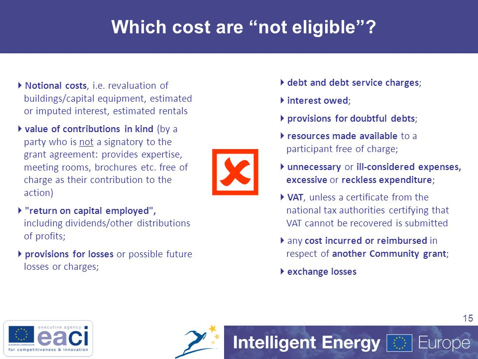 15 Which cost are not eligible .  Notional costs, i.e.